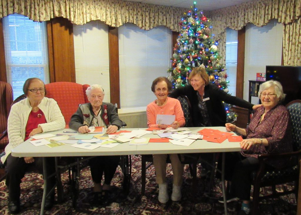 residents making cards for the military